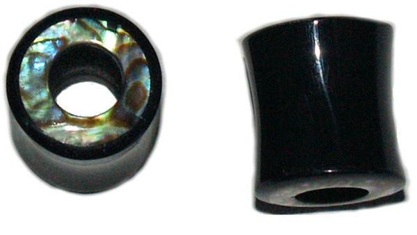 Pair Buffalo Horn Abalone Inlay Organic Saddle Tunnel Plugs 00G 10mm