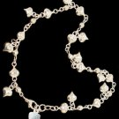 Silver Anklet Chain with Hearts Charms 9.5 Inches