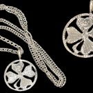 """Silver Necklace with Silver Clover Pendant 18"""""""