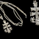 "Silver Necklace 22"" with silver Angels and Crucifix Pendant"