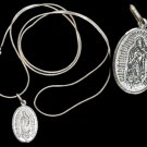 """Sterling Silver RGB Necklace 22"""" with Silver Virgen Medal"""
