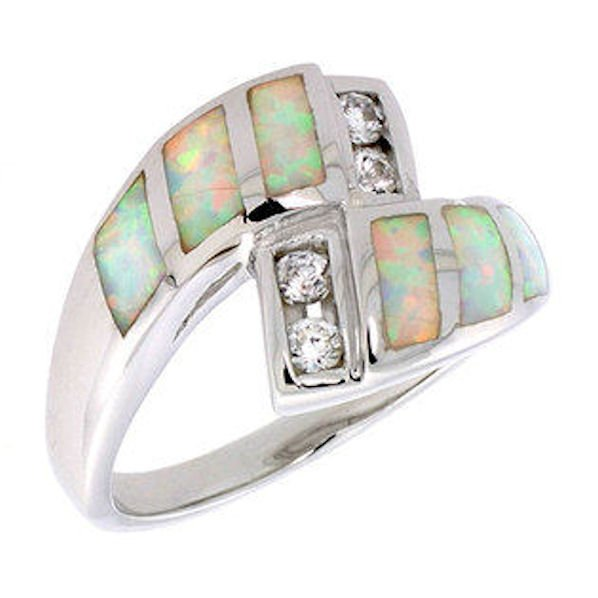Silver Synthetic Opal Inlay Swirl Size 7