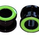 Pair of Green Flesh Tunnel  Plugs 00 Gauge 10mm
