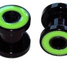 Pair Green Acrylic Flesh Tunnel Plugs 2 gauges 6mm