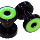 Pair of Green Acrylic Flesh Tunnel Plugs 6 gauges 4mm
