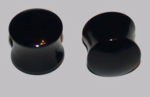 Pair (2 Pcs) Acrylic Black Saddle Ear Plugs 1/2 Gauge, 12.7mm