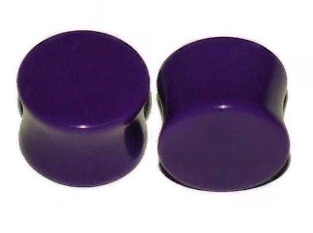 "Pair Purple Acrylic Saddle Ear Plugs 9/16"" , 14mm"