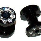 Pair CZ Black Acrylic Tunnel Ear Plugs 6 Gauge or 4mm