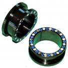 Pair CZ Multicolor Black Screw On Flesh Ear Tunnel Plugs 3/4 Gauge 19mm