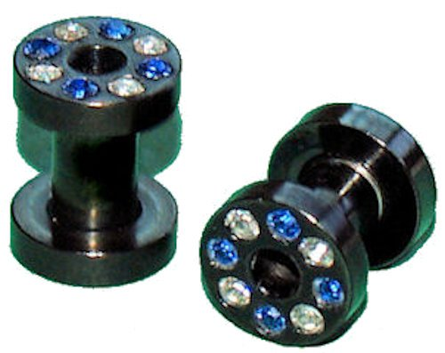 Pair CZ Screw On Black Flesh Tunnel Ear Plugs 4 Gauges 5mm
