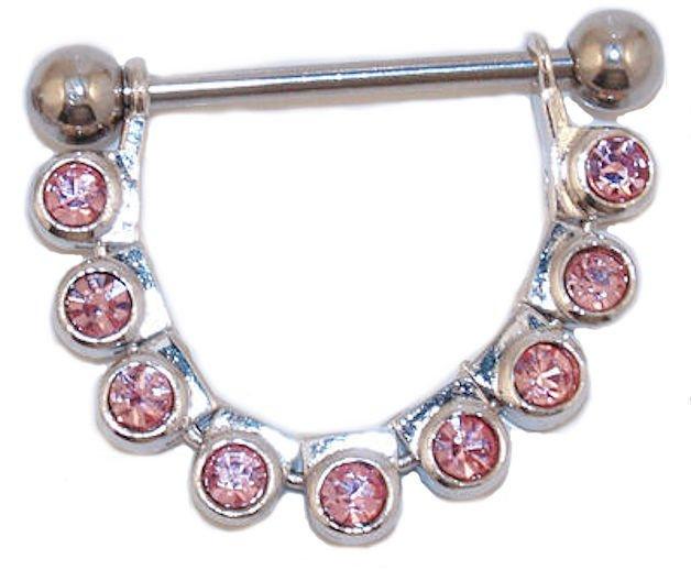 Pink CZ Nipple Ring Shield Barbell Piercing