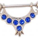 Blue CZ Nipple Ring Jewelry Shield Piercing