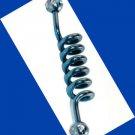 Blue Titanium Spiral Industrial Barbell Ear Plug Clear CZ 14G 1.5