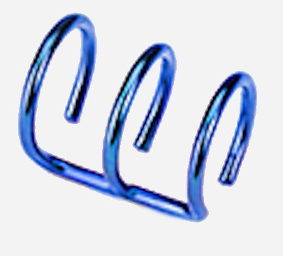 Blue Earrings rings fake illusion 3-ring non pierced clip on