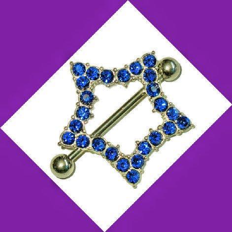 CZ Blue Star Nipple Ring Jewelry Barbell Piercing