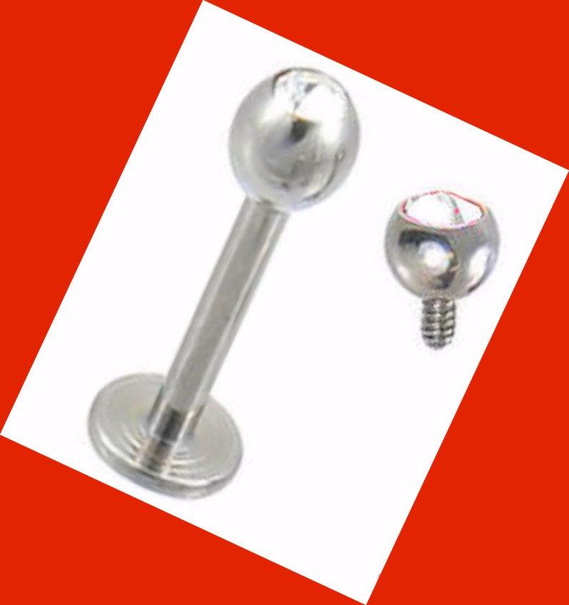 Internally threaded Clear CZ Micro Ball 16G, 3/8 Lip Ring labret Monroe Jewelry