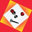 Red Swarovski Crystals Lip Labret Ring Stud Monroe Tragus Chin Piercing Jewelry 16G, 5/16