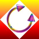 Titanium Rainbow Spike Horseshoe Circular Barbell Ring For Nose, lip Ear Piercing Jewelry  16g, 7/16