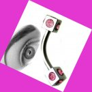Steel Dice Pink CZ 16G 7/16 Eyebrow Ring / Tragus/Curved Barbell Stud