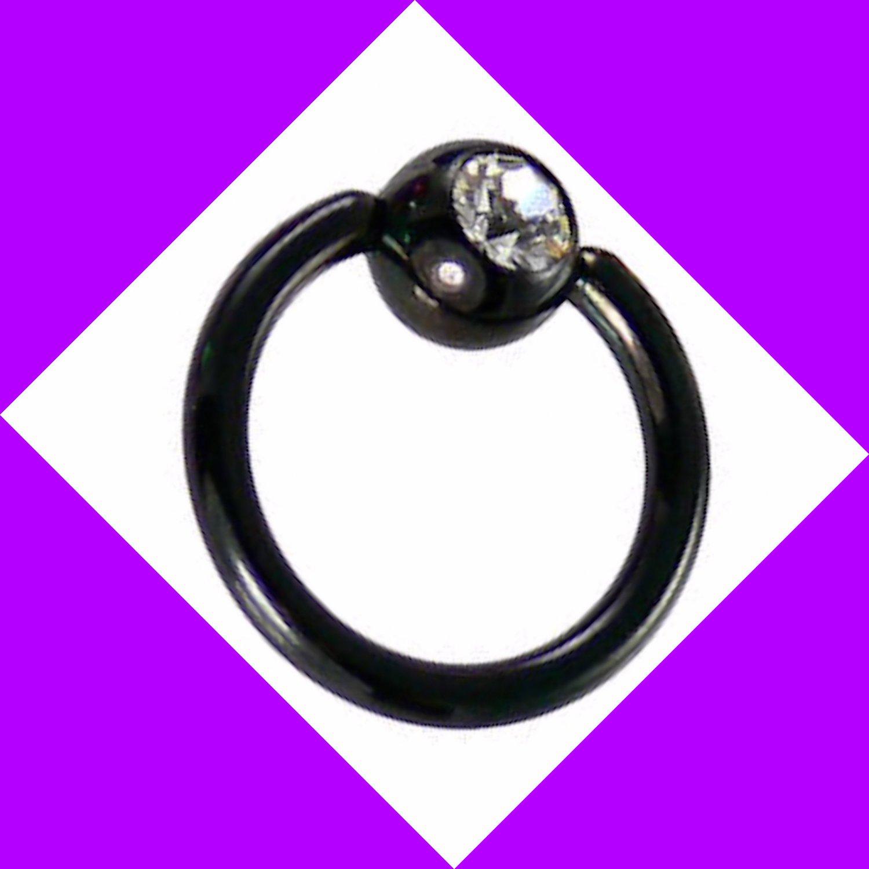Black Titanium Clear CZ Gem 14G Gauge 3/8 Captive Bead Ring Nose Septum Hoop Earring Nipple Lips