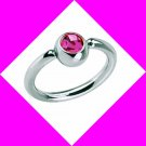 Steel Captive Bead Ring Nose Septum Hoop Earring Nipple Lips  With Pink CZ Gem 14 Gauge