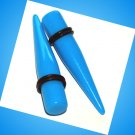 Pair Blue Turquoise Acrylic Straight 7/16 11.2mm Ear Taper Stretcher Gauges Plugs