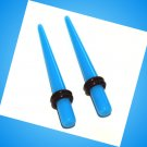 Pair Blue Turquoise Acrylic Straight 4G 5mm Ear Taper Expander Stretcher Gauges Plugs
