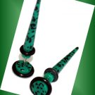 Pair 16G Acrylic Green Spots Fake Taper Expander Cheater Illusion Plugs
