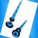 Pair 16G Blue w Stars Fake Ear Taper Expander Ear Cheater Gauges