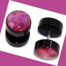 Pair Acrylic Pink Mother of Pearl Ear Cheater Fake Illusion Plugs 16G