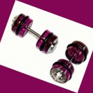 Pair Purple Acrylic Ear Cheater With Clear CZ Illusion Plugs 0 Gauges