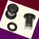 Pair Steel Saddle Ear Plugs 2G Gauges 6mm With O-Rings