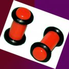 Pair 4G Red Acrylic Saddle Ear Plugs 5mm Gauge With Grooved O-Rings