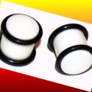 Pair 7/16 White Acrylic Saddle Ear Plugs 11.2mm Gauge with Groove O-Rings
