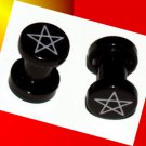 Pair 6G Black Acrylic David Star Ear Plugs 4mm Gauge Screw On