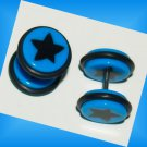 Pair Acrylic Blue Ear Cheater With Black Star Fake Illusion Plugs 16G Gauges