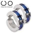 Pair Steel Inlay Blue IP Non Piercing Earring Hoops Clip On Cuff Ear Jewelry
