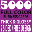 5000 CUSTOM FULL COLOR BUSINESS CARDS, 16PT/FREE DESIGN, THICK & GLOSSY