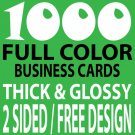 1000 CUSTOM FULL COLOR BUSINESS CARDS, 16PT/FREE DESIGN, THICK & GLOSSY