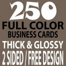 250 CUSTOM FULL COLOR BUSINESS CARDS, 16PT/FREE DESIGN, THICK & GLOSSY