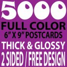 5000 CUSTOM FULL COLOR 6X9 POSTCARDS, 16PT/FREE DESIGN