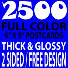 2500 CUSTOM FULL COLOR 6X9 POSTCARDS, 16PT/FREE DESIGN