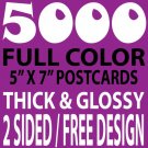 5000 CUSTOM FULL COLOR 5X7 POSTCARDS, 16PT/FREE DESIGN