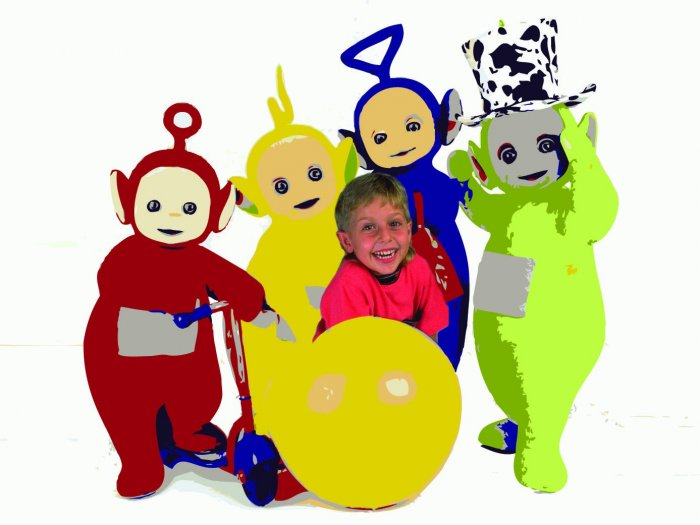 16x20 Customized Teletubbies Poster Featuring your child's picture on Vinyl