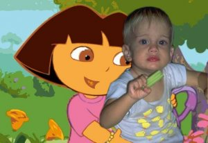 16x20 Customized Dora the Explorer Poster Featuring your child's picture on Vinyl