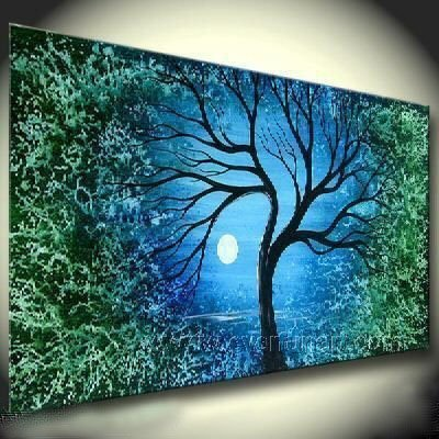 Tree And Silver Moon !! Framed! Modern Wall Decor Art Landscape Huge Oil Painting On Canvas LA1-028