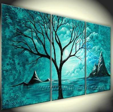 Old Tree Underneath The Stars ! Hot! Nice Landscape Oil Painting (+ Frame) LA3-043