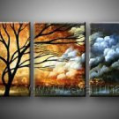 A Half of Day, A Half of Night.~Hot! Nice Landscape Oil Painting (+ Frame) LA3-076