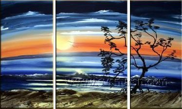 Wait for the Sun! Hot! Nice Landscape Oil Painting (+ Frame) LA3-116