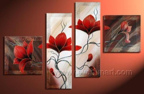 Gorgeous Oil Floral Painting on Canvas Very Pretty Flowers (+Frame) FL4-003